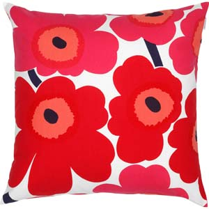 Marimekko cushion Pieni Unikko red
