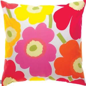 Marimekko cushion Pieni Unikko yellow-red