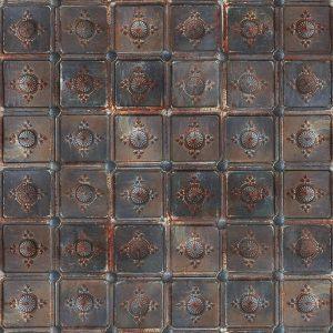 Casamance panoramic wallpaper Metal Carre rust