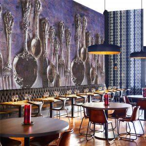 Casamance panoramic wallpaper Dinons Ensemble purple