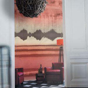 Casamance panoramic wallpaper Encre de Chine red