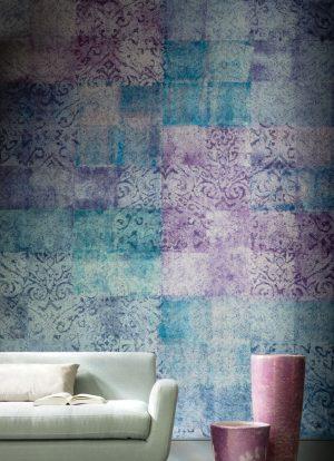 Casamance panoramic wallpaper Ghali Patchwork lilac