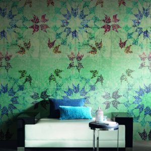 Casamance panoramic wallpaper Pointilleuse Rosace blue