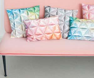 Snurk cushion Geogami blue-green