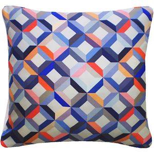 Nitin Goyal cushion Chevron Coral-Grey