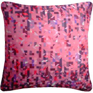Nitin Goyal cushion Pixelated Triangles Berry