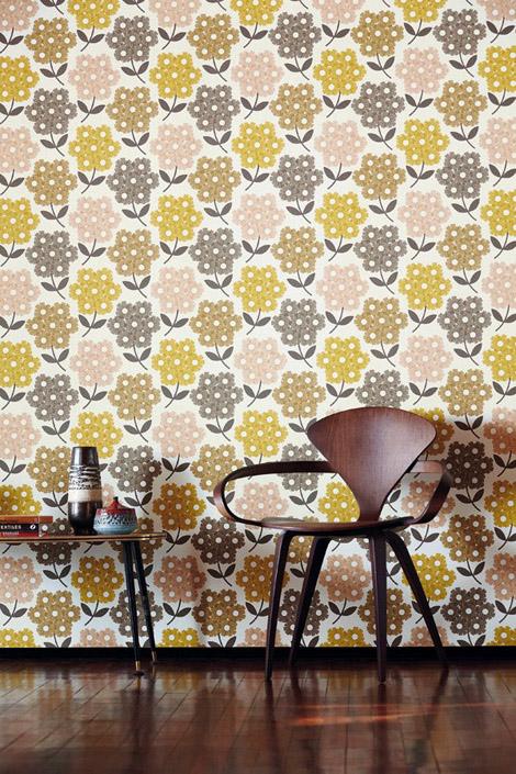 Orla Kiely wallpaper Rhododendron Green