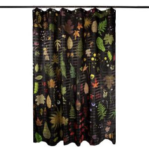 EST-1966 shower curtain NO-1 Flowers Black