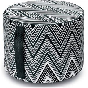 Missoni Home outdoor cylinder pouf Kew black