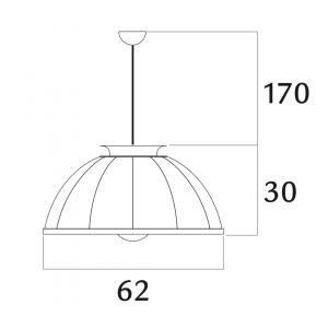 Fortuny Cupola pendant lamp black - silver leaf
