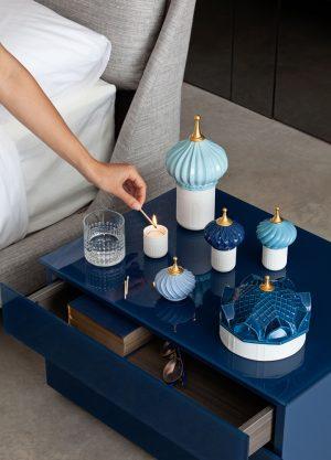 Lladró scented candle 1001 Lights Scheherazades Quarters blue
