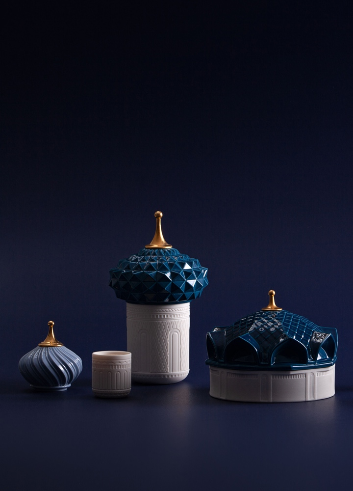 Lladró scented candle 1001 Lights North Tower blue