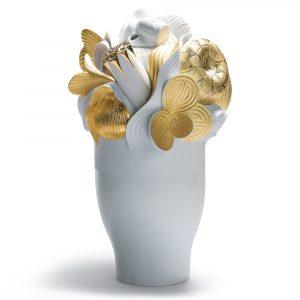 Lladró large vase Naturofantastic golden