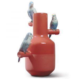 Lladró vase Parrot Parade coral