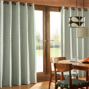Orla Kiely ready-made curtains Woven Acorn Cup Powder Blue