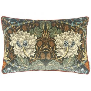 Morris & Co cushion Honeysuckle and Tulip Velvet Forest-Chestnut
