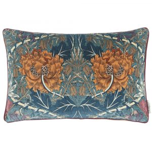 Morris & Co cushion Honeysuckle and Tulip Velvet Woad-Mulberry