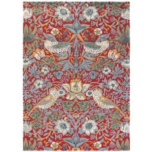 Morris & Co rug Strawberry Thief Crimson