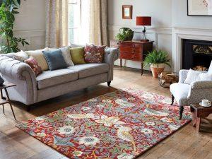 Morris & Co rug Strawberry Thief Indigo