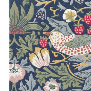 Morris & Co rug Strawberry Thief Indigo