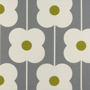 Orla Kiely curtain fabric Abacus Flower Olive