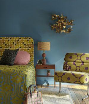 Orla Kiely curtain fabric Bark Texture Bubblegum