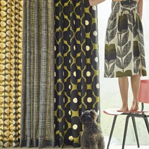 Orla Kiely curtain fabric Scribble Pear Multi