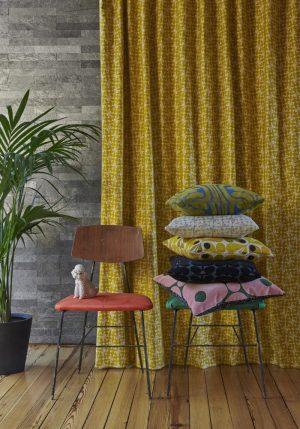 Orla Kiely furniture fabric Woven Acorn Cup Dandelion