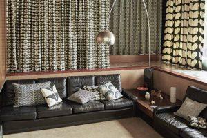 Orla Kiely curtain fabric Seventies Flower Cool Grey