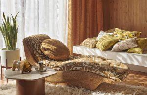 Orla Kiely furniture fabric Acorn Cup Saffron