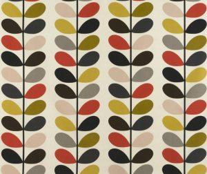 Orla Kiely curtain fabric Multi Stem Tomato