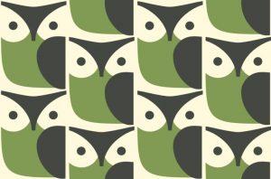 Orla Kiely furniture fabric Owl Chalky Green