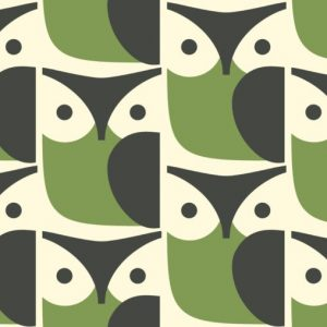 Orla Kiely furniture fabric Owl Chalky Green
