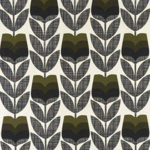 Orla Kiely curtain fabric Rosebud Moss