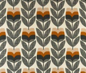 Orla Kiely curtain fabric Rosebud Powder Orange