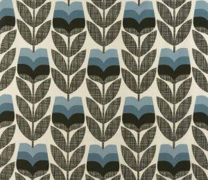 Orla Kiely curtain fabric Rosebud Powder Blue