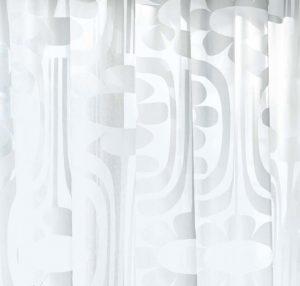 Orla Kiely sheer curtain fabric Climbing Daisy White