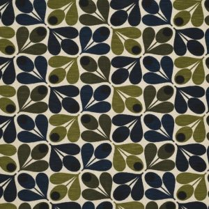Orla Kiely furniture fabric Acorn Cup Dark Marine