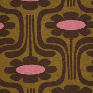 Orla Kiely furniture fabric Climbing Daisy Ochre Tan
