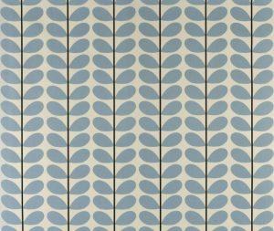 Orla Kiely curtain fabric Two-colour Stem Powder Blue