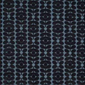 Orla Kiely furniture fabric Velvet Sixties Stem Dark Marine