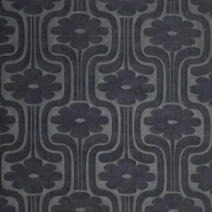 Orla Kiely curtain fabric Woven Climbing Daisy Charcoal