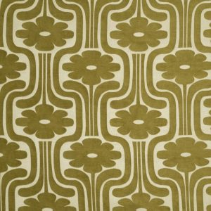 Orla Kiely curtain fabric Woven Climbing Daisy Yellow Olive