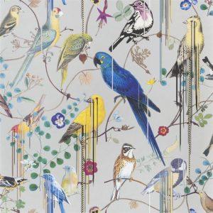 Christian Lacroix wallpaper Birds Sinfonia Argent