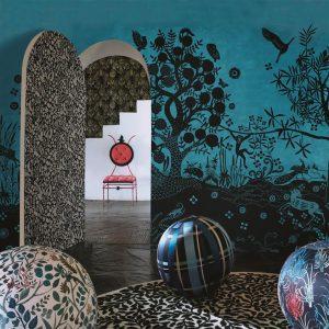Christian Lacroix mural Bois Paradis Bleu Nigelle