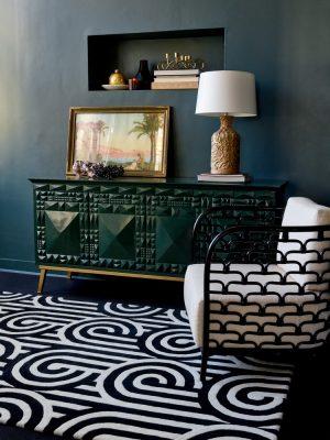 Florence Broadhurst rug Turnabouts Black
