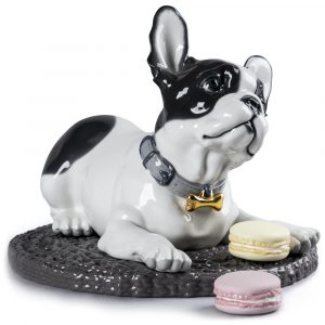 Lladró dog sculpture French Bulldog with Macarons
