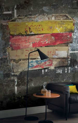 Casamance panoramic wallpaper panel A Fond la Caisse