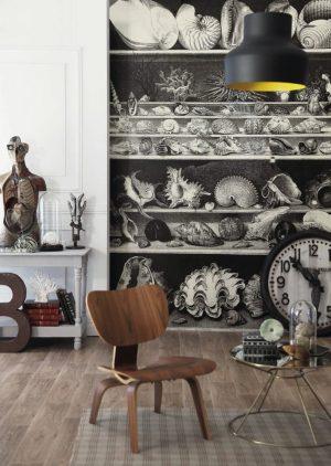 Casamance panoramic wallpaper panel Coquillages et Crustaces noir et blanc