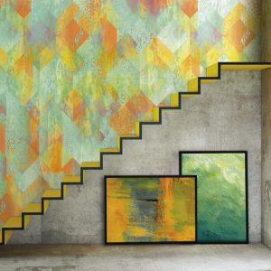 Casamance panoramic wallpaper panel De Guipure et de Gouache vert